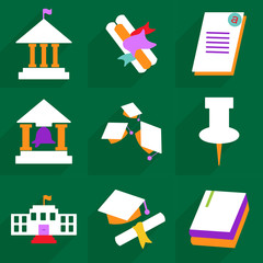 Web icons modern design for mobile shadow icon set education