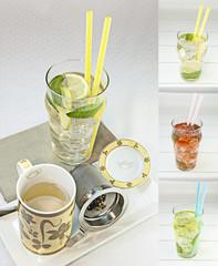 Té frio con hielo y hojas de menta conjunto varios sabores y colores