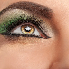 Close up eye with green make up