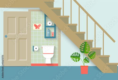 Flat Toilet Room Under Stair, Living Room. Vector Illustration