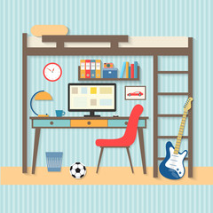 flat workplace in student room with guitar. Vector illustration