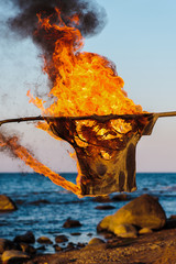 T-shirt in flame