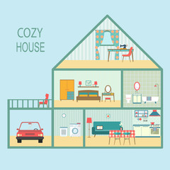 flat cozy house section with interior living room, functional attic, balcony and garage. vector illustration