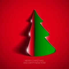 Creative paper Christmas tree. Vector Illustration