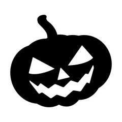 Halloween pumpkin silhouette vector illustration, Jack O Lantern  isolated on white background. Scary orange picture with eyes.