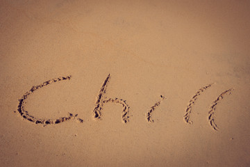 retro chill handwriting on beach