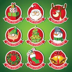 Set of Christmas cartoon stickers