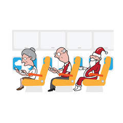 Airplane cabin passengers and smart phones and Santa