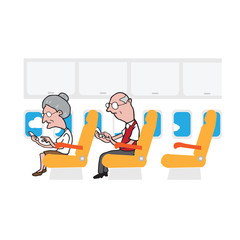 Airplane cabin passengers old man and woman smart phone