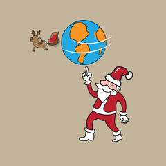 Globe and reindeer holding by Santa