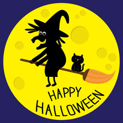 Flying black witch and cat. Big moon. Happy Halloween card. Flat design.