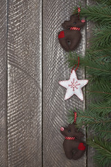 Cute christmas ornaments hanged on the branch