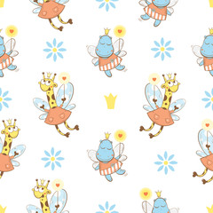 Vector seamless pattern with fairies giraffes and  hippopotamuses  on a white  background.