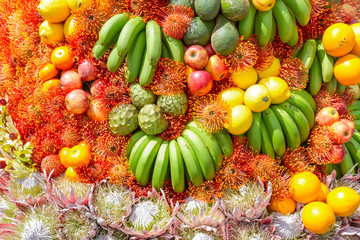 Fototapete - Fruits and flowers decoration at Madeira Flower Festival, Portugal.
