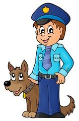 Policeman with guard dog image 1