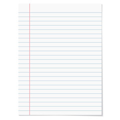 Strips notebook paper on white background.