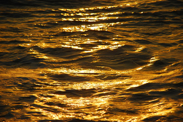 Golden waves. Background.