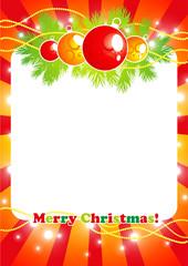 Christmas white frame on red decoration background, vector illustration