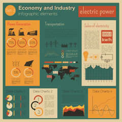 Economy and industry. Electric power. Industrial infographic tem