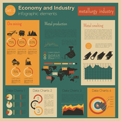 Economy and industry. Metallurgy industry. Industrial infographi
