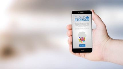 mobile phone cloud storage online on user´s hand