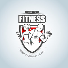 Man and woman Fitness logo template. Gym club logotype. Sport Fitness club creative concept. Bodybuilder Fitness Model Illustration, Sign, Symbol, badge.