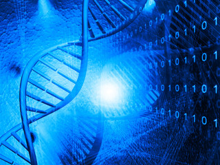 DNA molecules on digital background
