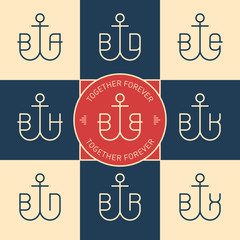 Monograms or logotype with anchor and letters. Vector line icons