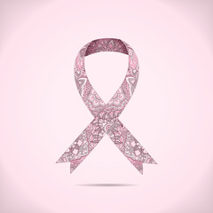 Ornate Ribbon of Breast Cancer on abstract pink background.