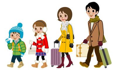 Winter Family traveller, Isolated