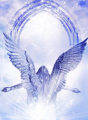 Arising Archangel with big wings and mystical gate