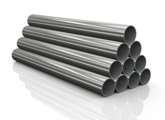 3d stack of steel pipes