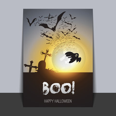 Halloween Greeting Card Design Template - Flying Bats and a Ghost Over the Cemetery in the Dusk
