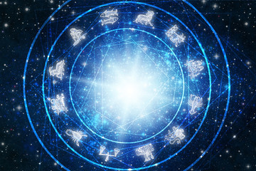 zodiac symbols over blue stars and flare