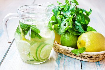 lemonade with lemon, lime and mint