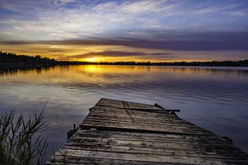 Broken dock and amazing sunset