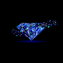 Gemstones around the world merge to be one Marvellous Diamond use for blue sapphire logo, diamond logo, background for jewelry or gems company