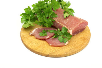 meat on the white background