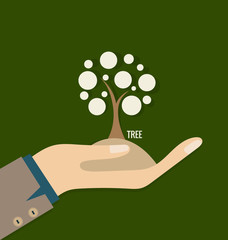 ECO FRIENDLY. Ecology concept with hand and tree background. Vec
