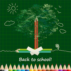 Back to school background or card with pencils, tree and sun.