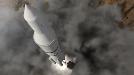 Futuristic space rocket launch with smoke and dust