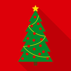 Christmas Tree with Decor in Flat Style