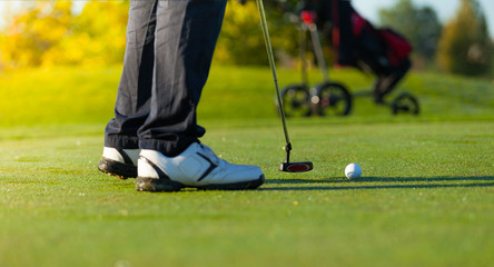 Close-up of man playing golf on green course
