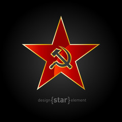 vector red star with gold border and socialist symbols