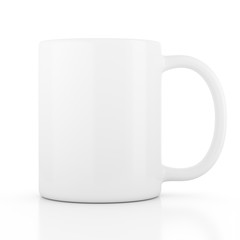 Ceramic mug empty blank for coffee or tea isolated on white