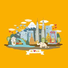 Asia concept poster - cartoon vector Illustration