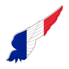 Wing with France flag on white background. Vector illustration