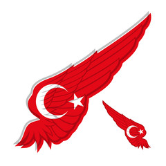 flag of Turkey on abstract Wing and white background. Vector ill