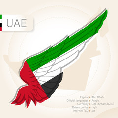 United Arab Emirates infographics with flag, map and information