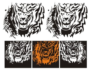 Tribal tiger roar with splashes